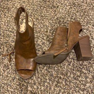 Gently worn peep toe boots